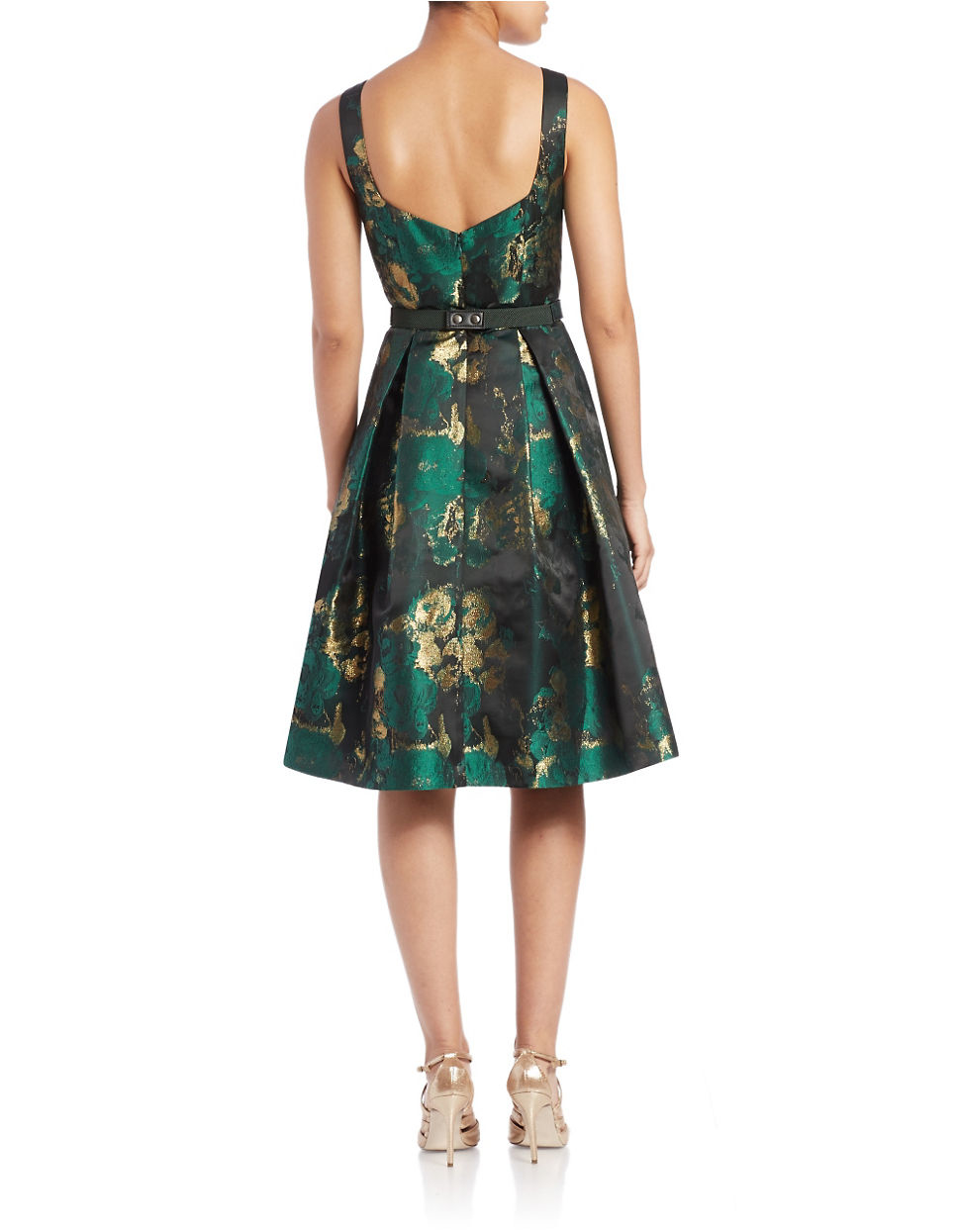 Eliza J Printed Fit And Flare Dress In Green Lyst