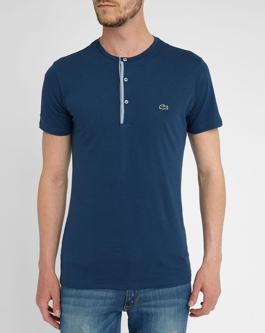 Lacoste navy grandad collar t shirt in blue for men navy Mens grandad collar shirt