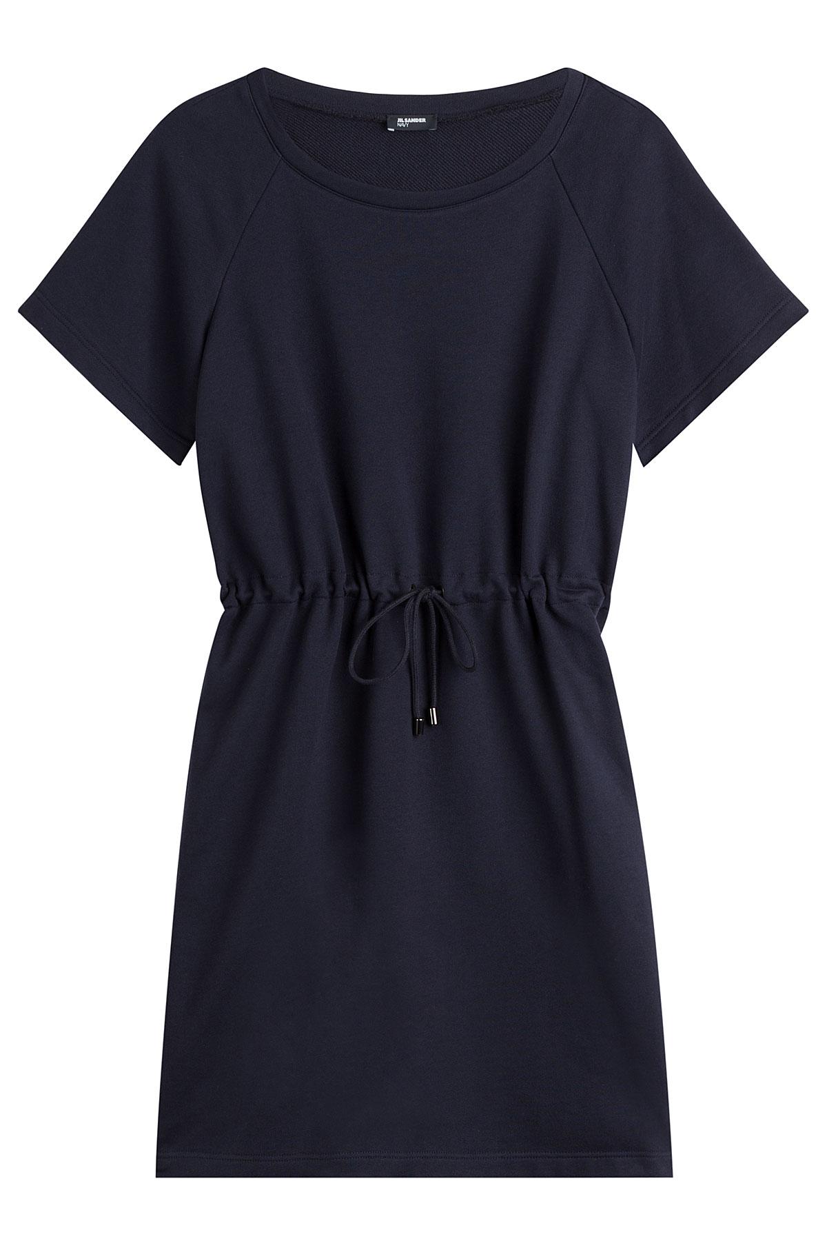 Jil sander navy Drawstring Cotton Dress - Blue in Black  Lyst