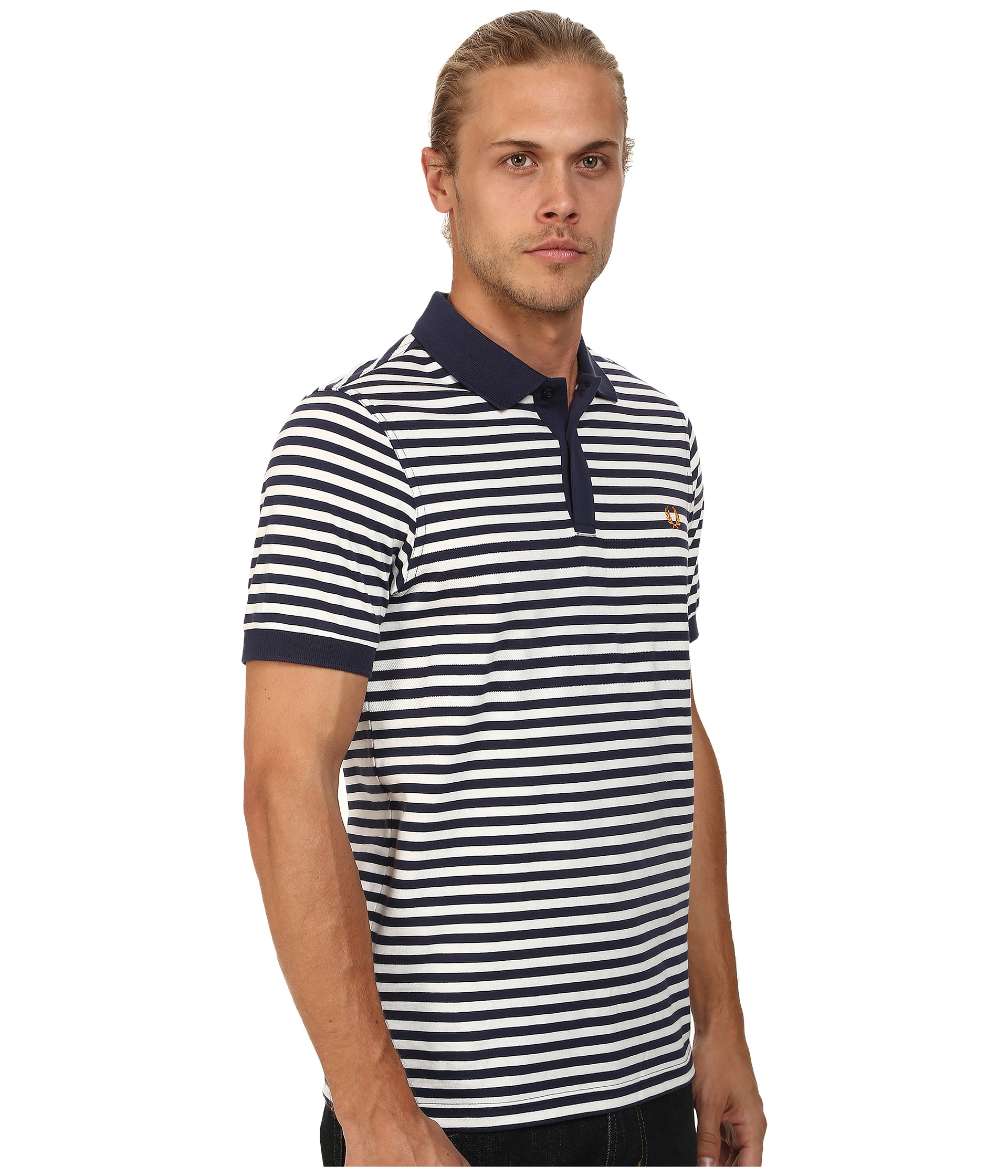 Lyst Fred Perry Fine Stripe Pique And Jersey Shirt In