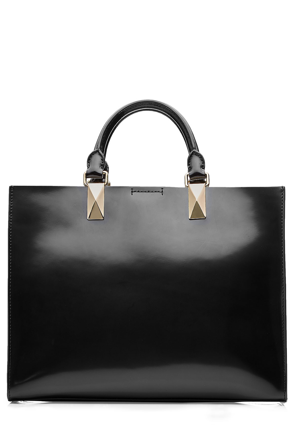 47b57995d2c2 Lyst - Karl Lagerfeld Patent Leather Tote - Black in Black
