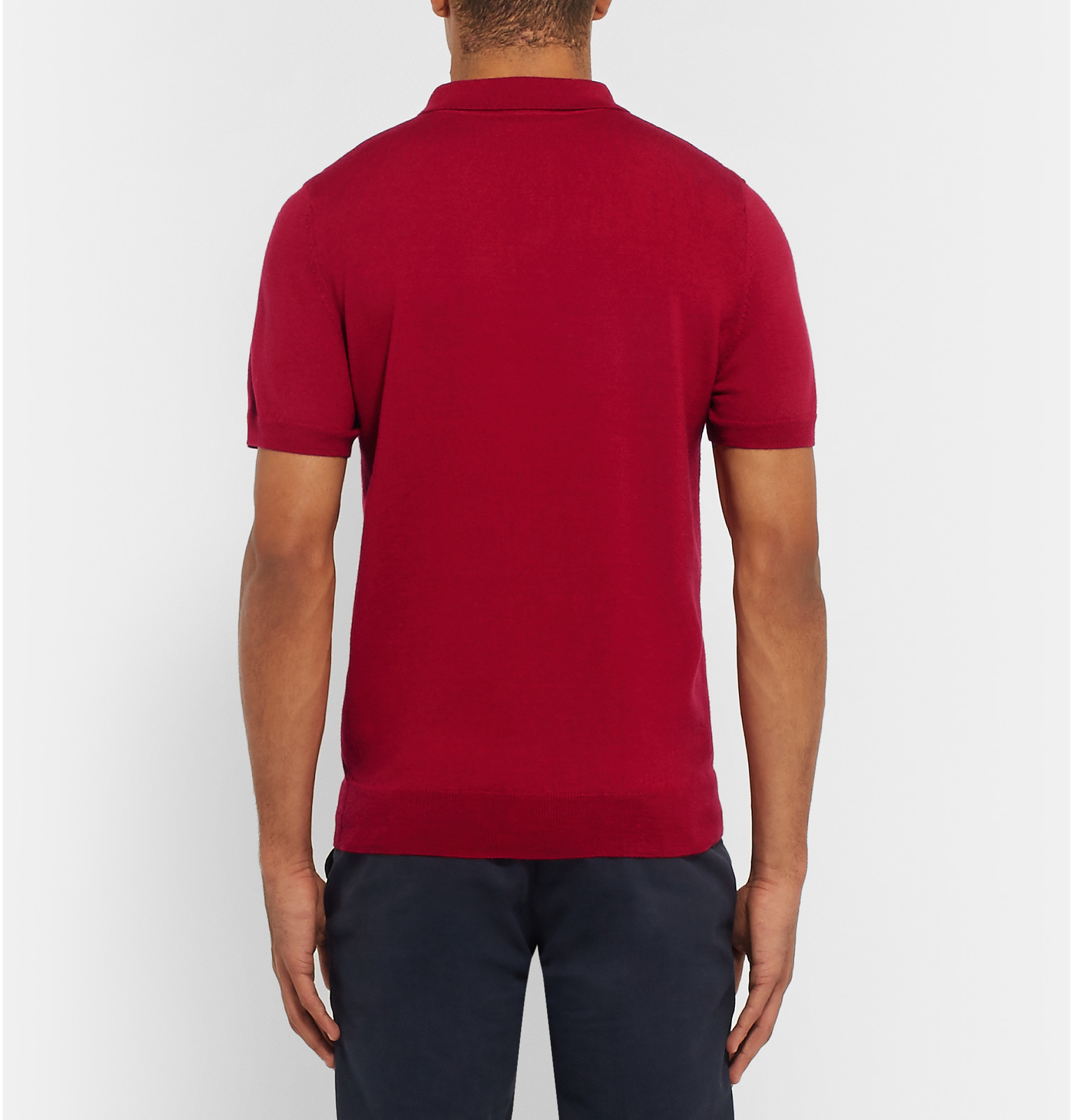 Lyst a p c merino wool polo shirt in red for men for Mens red wool shirt