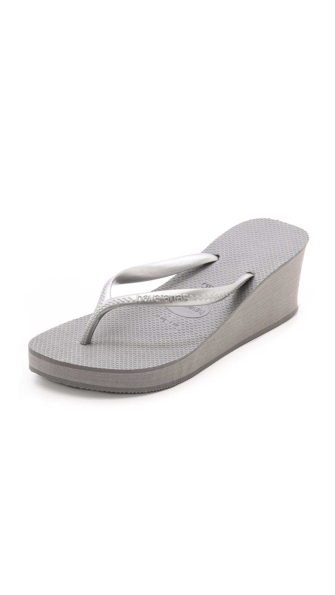 Havaianas High Fashion Wedge Flip Flops In Grey Gray - Lyst-6032