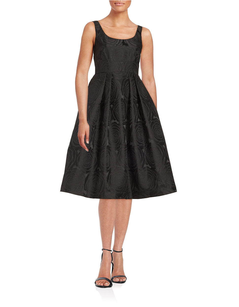 Ivanka Trump Rose Pattern Fit And Flare Dress In Black Lyst