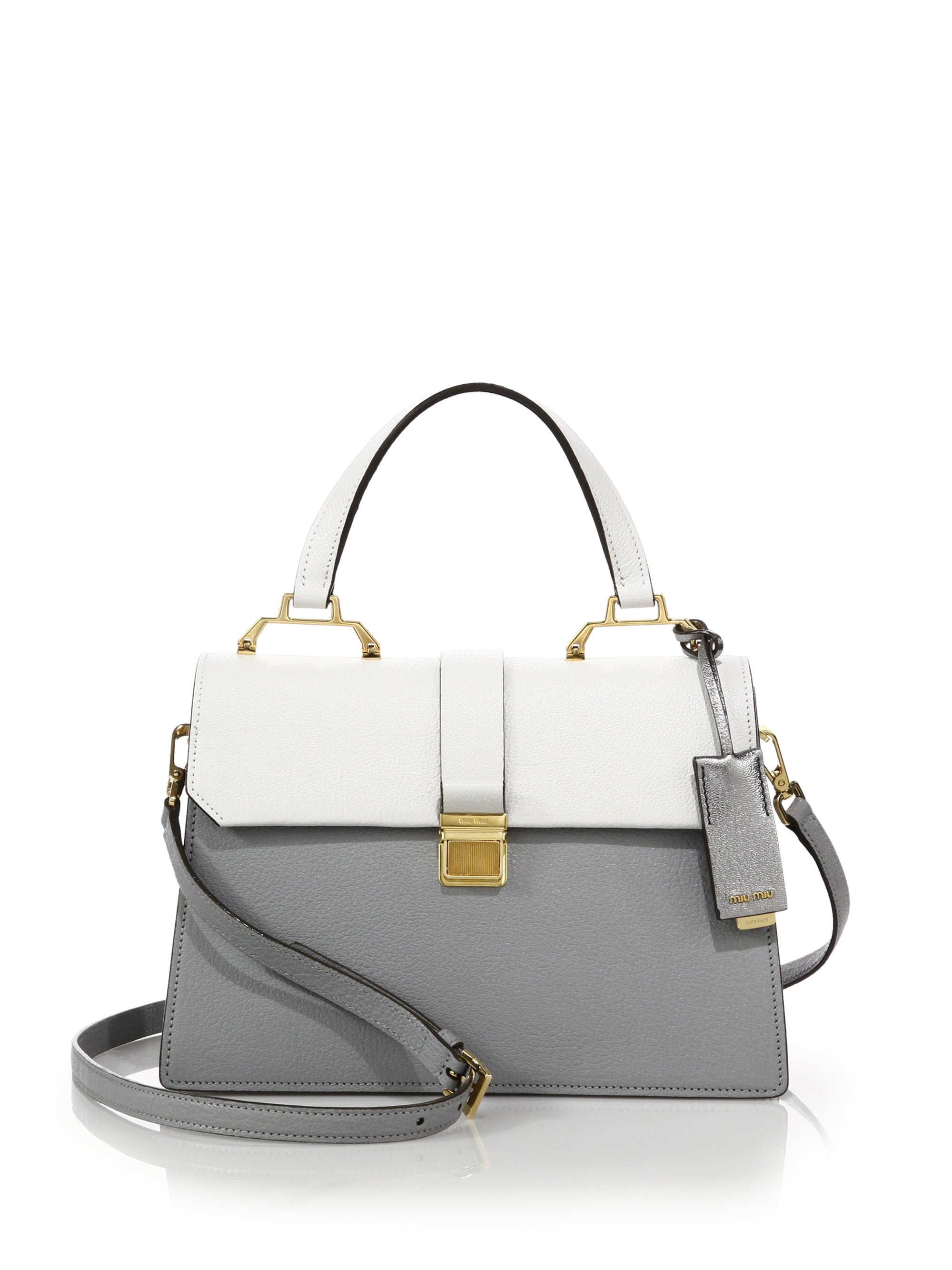 2af2f138593d Miu miu Madras Two-tone Leather Top-handle Satchel in Gray .
