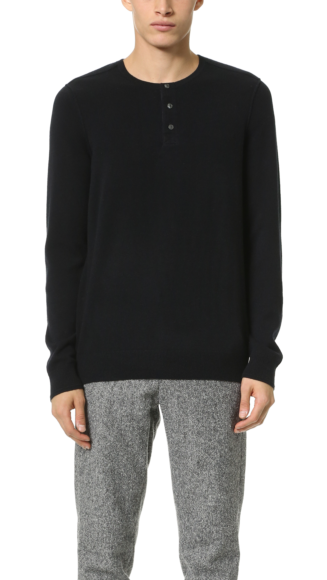 Vince Cashmere Blend Stitch Mix Henley Sweater in Black ...