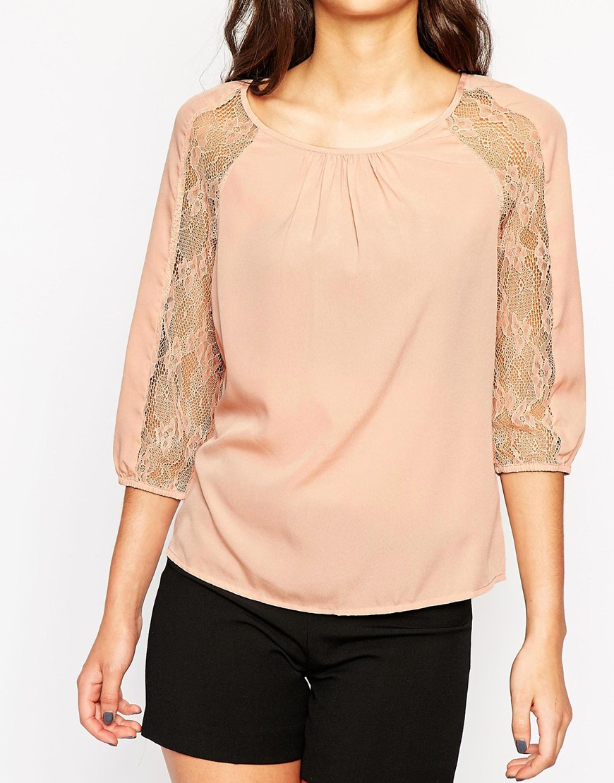 lyst vero moda top with lace sleeves in pink. Black Bedroom Furniture Sets. Home Design Ideas