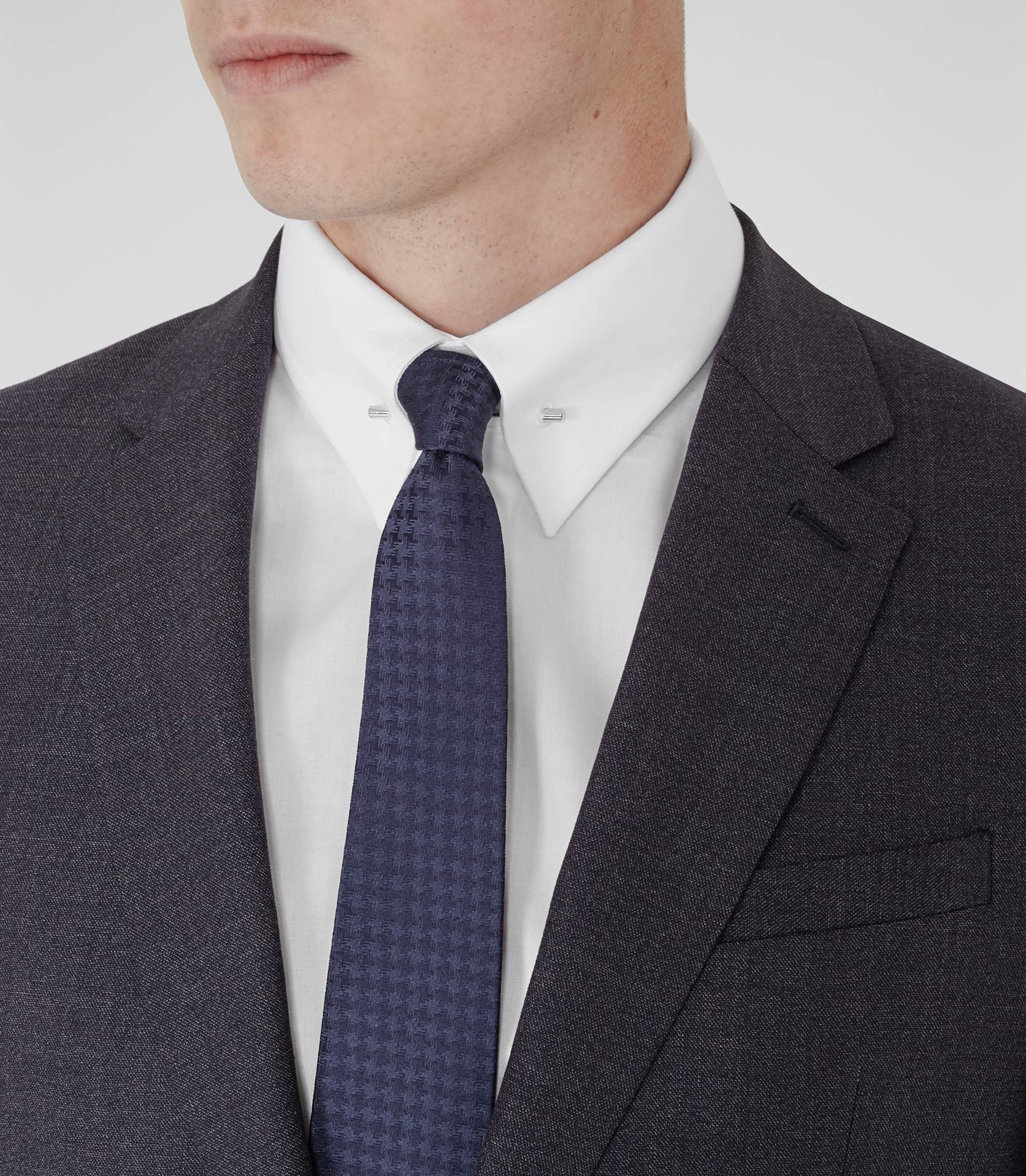 Reiss belfort collar pin shirt in white for men lyst for White shirt with collar pin