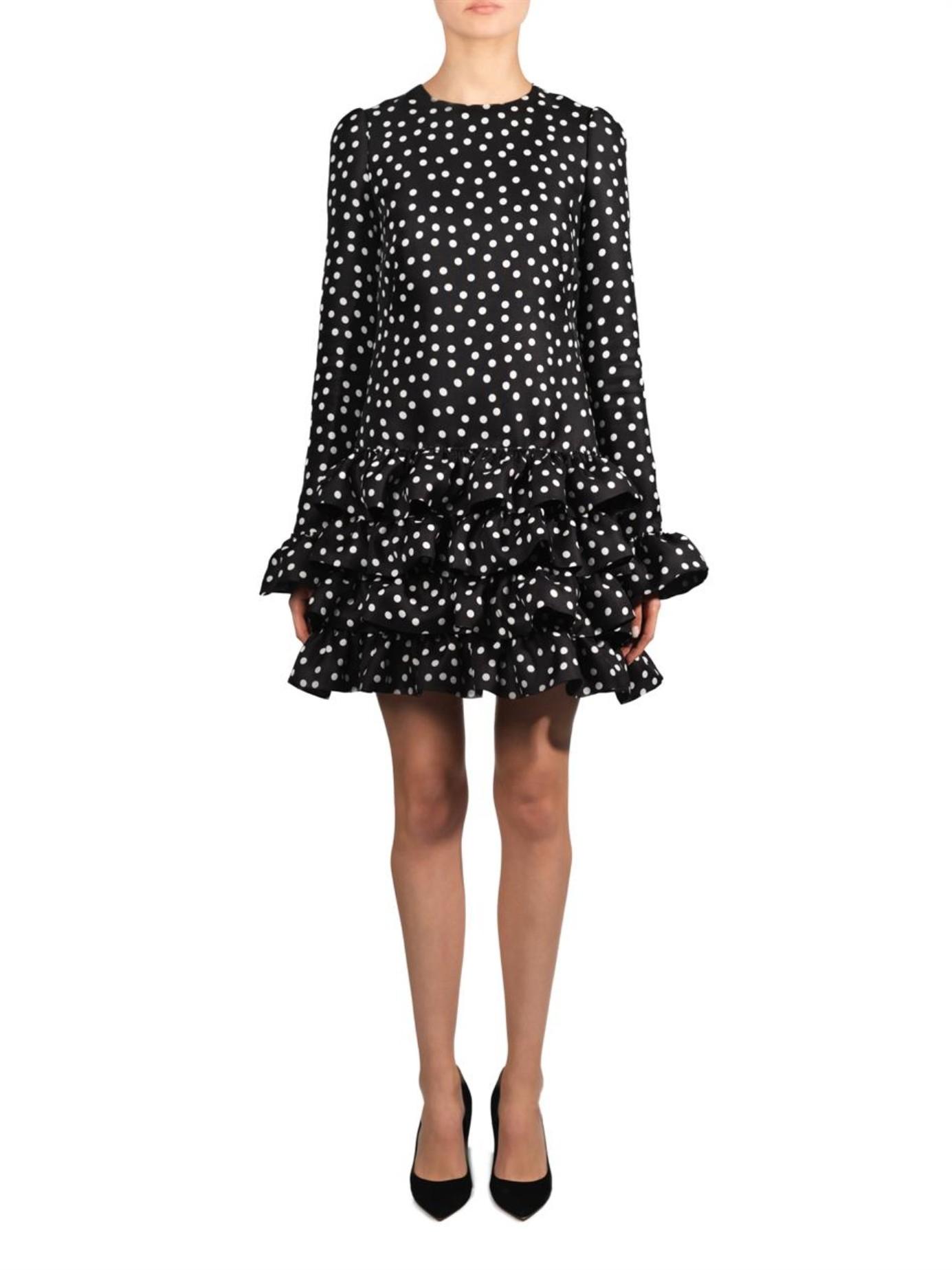 Lyst Dolce Amp Gabbana Polka Dot Print Ruffle Hem Dress In