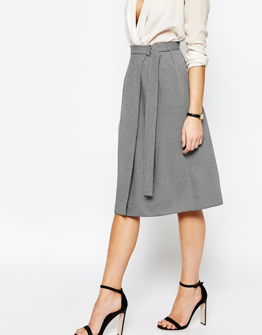 Love Wrap Skirt With D Ring in Gray