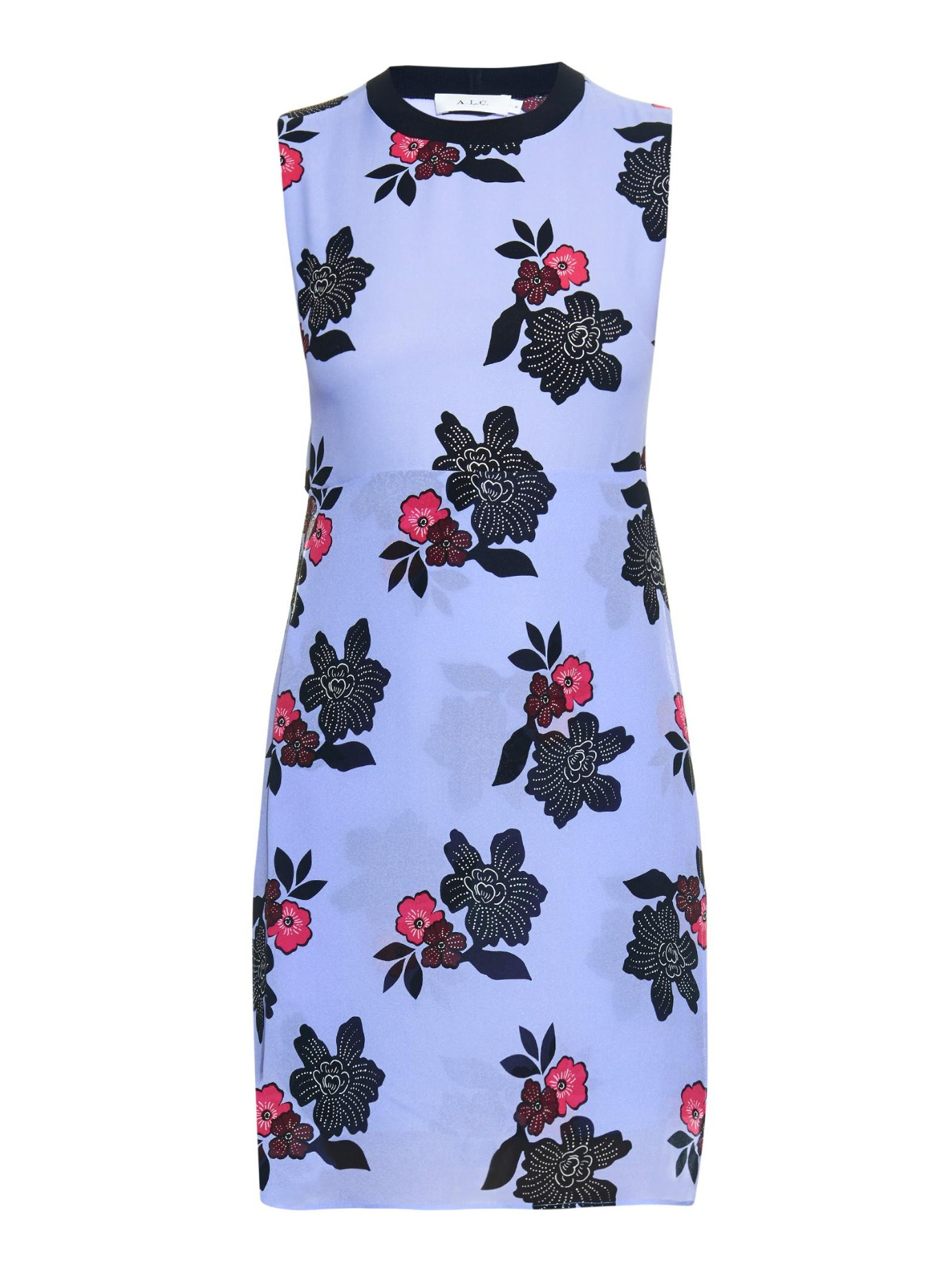 A L C Harvey African Floral Print Silk Mini Dress In