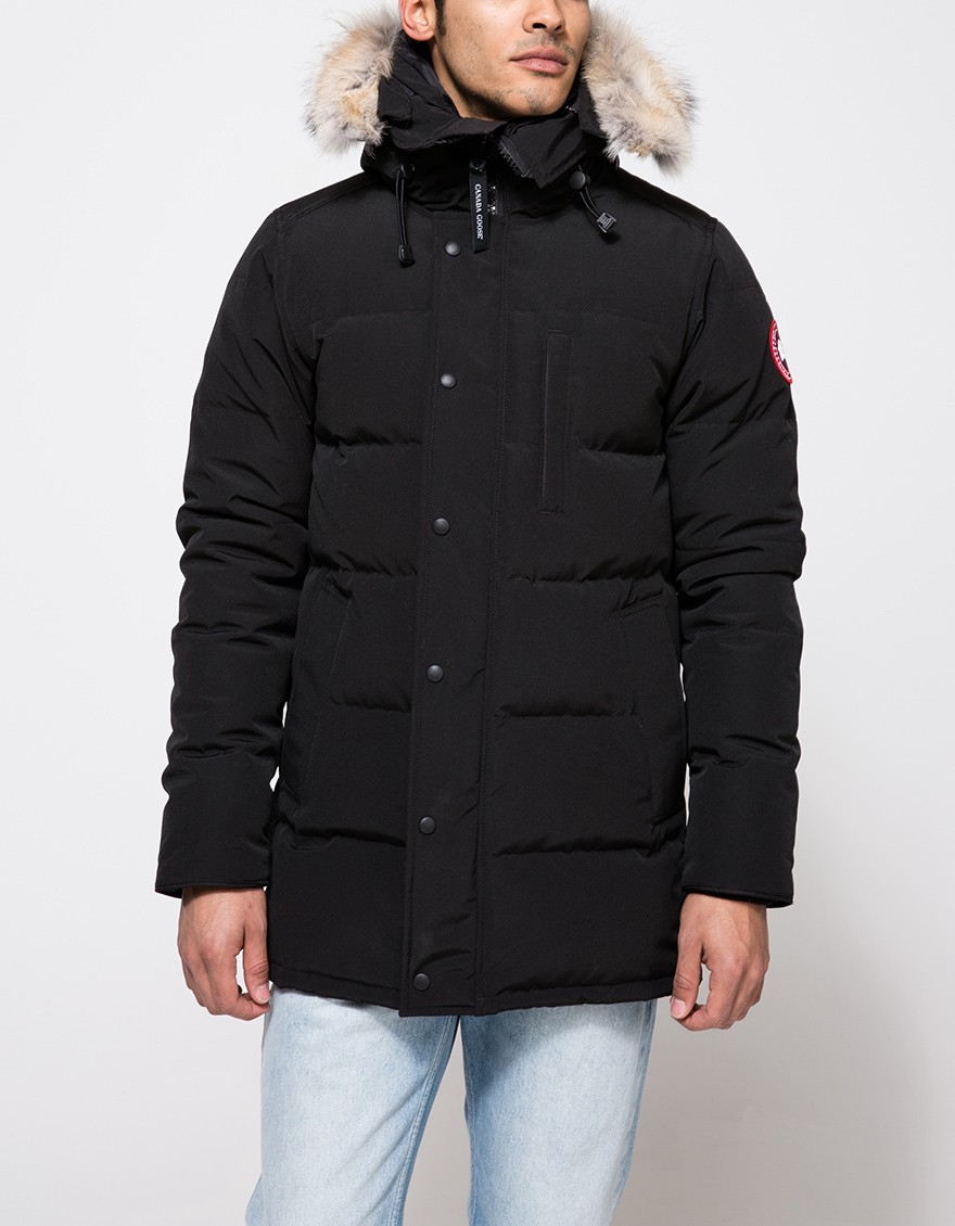 Coyote Fur Coat >> Canada goose Carson Drawstring Hooded Parka in Black for Men | Lyst