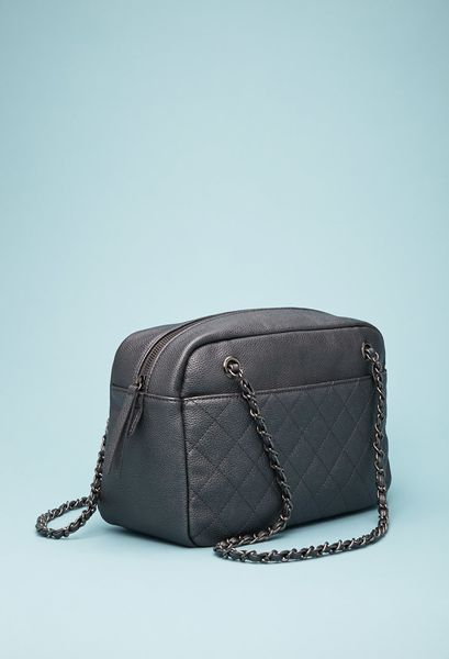Forever 21 Quilted Faux Leather Shoulder Bag in Gray (Grey)