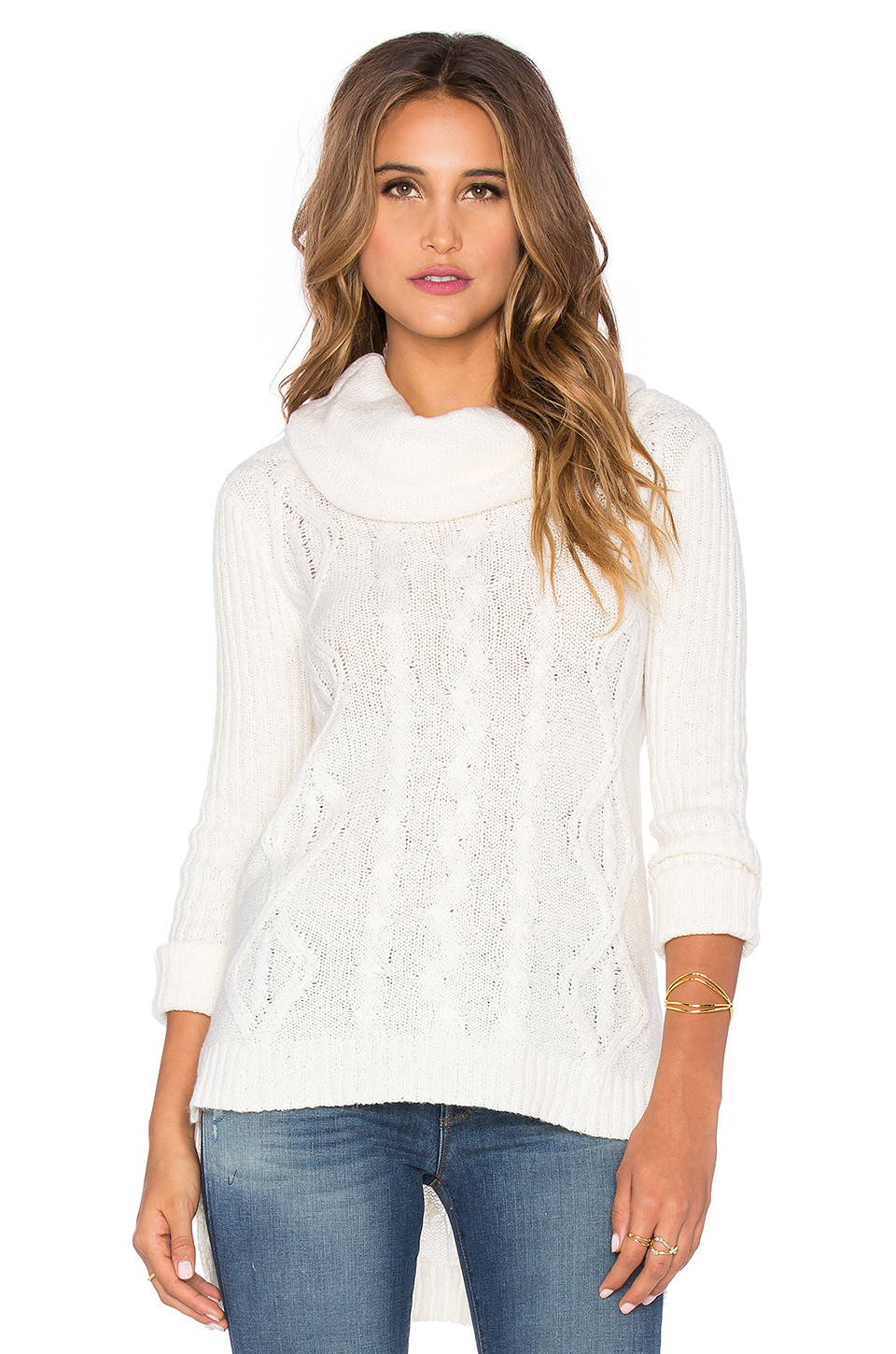 Lamade Lightweight Cable Oversized Cowlneck Sweater in White | Lyst