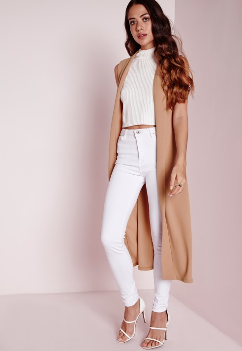 9607b015d Missguided Sleeveless Blazer Camel in Natural - Lyst