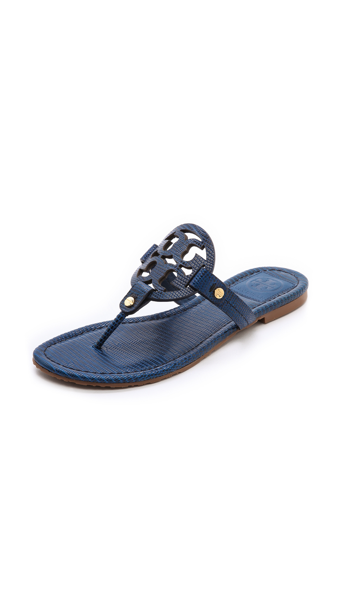 e45d75dfcfa Lyst - Tory Burch Miller Tejus Print Sandals Newport Navy in Blue
