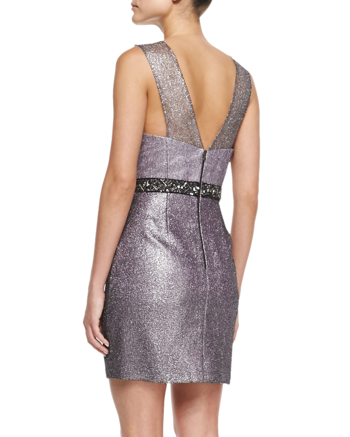 Kay J S By Kay Unger Sleeveless Beaded Waist Cocktail