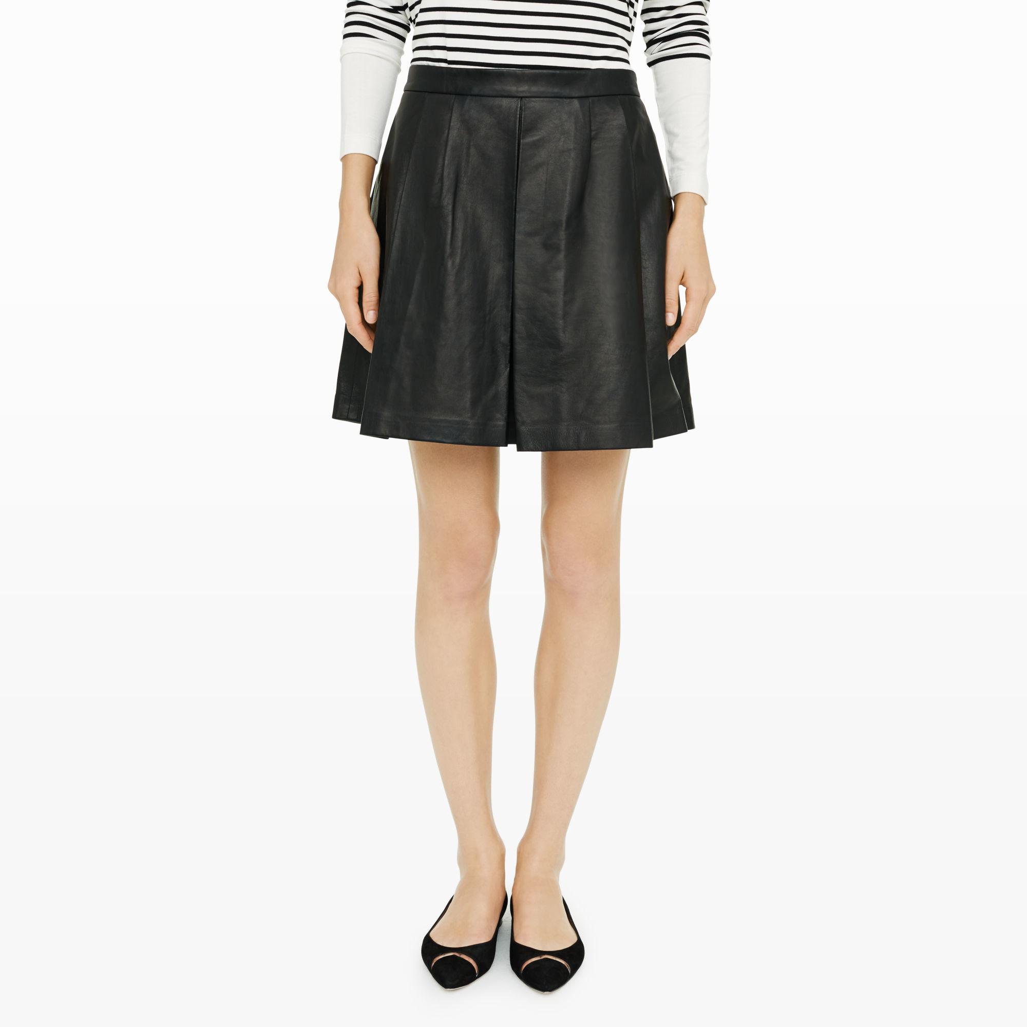 club monaco bryna leather skirt in black lyst