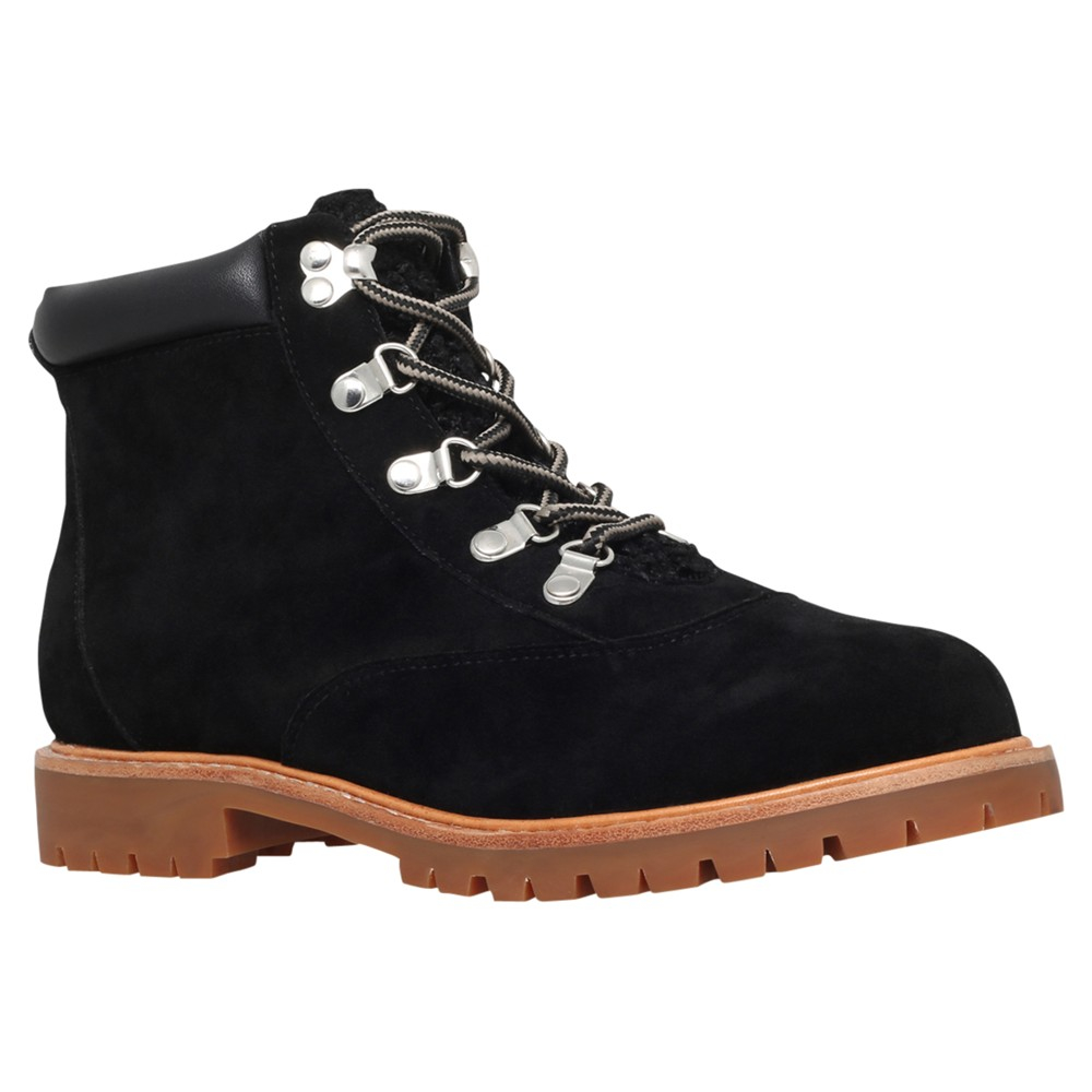 Miss Kg Soda Lace Up Suedette Ankle Boots in Black