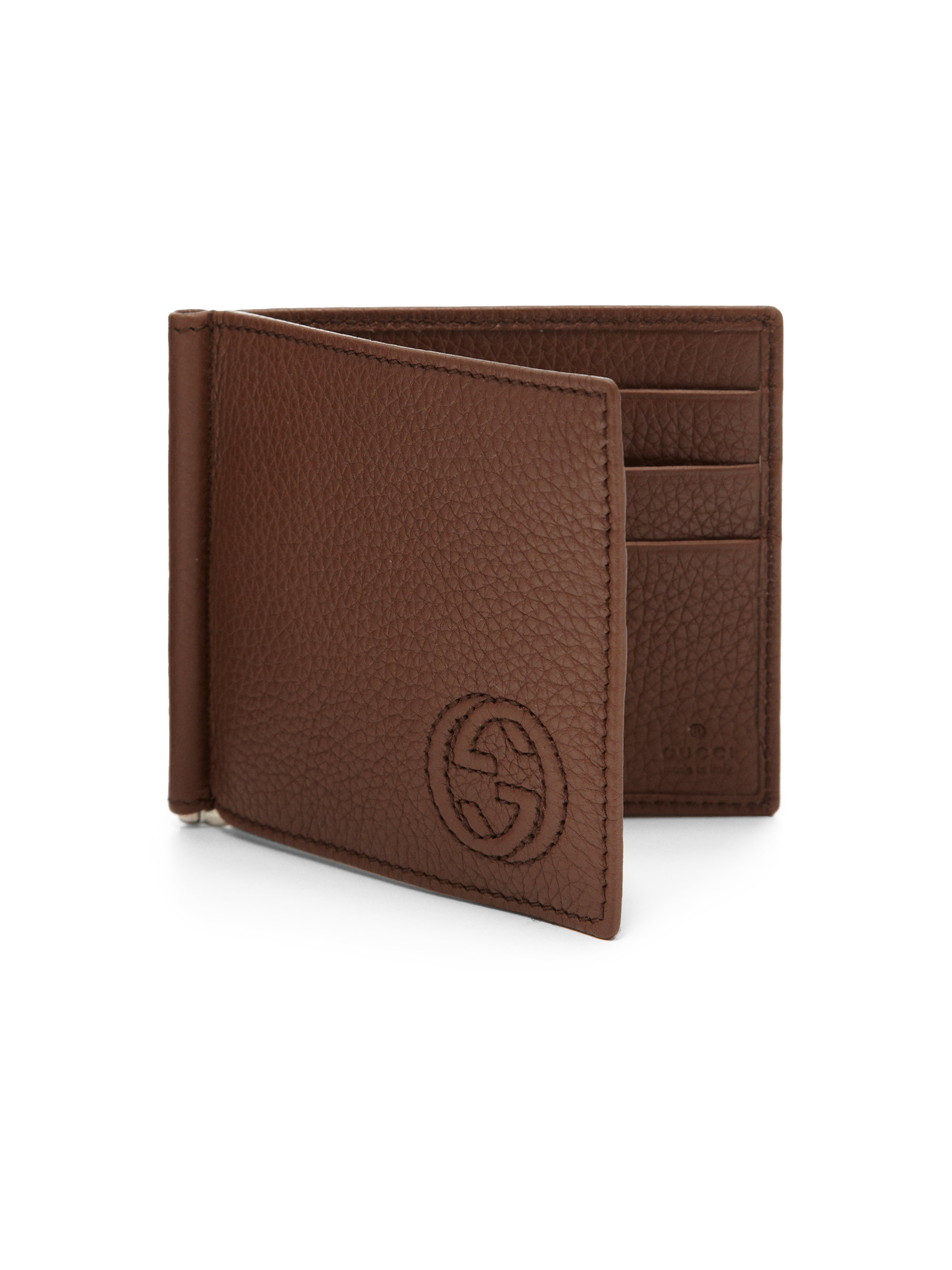 0b9955db2aa Lyst - Gucci Soho Leather Money Clip Wallet in Brown for Men