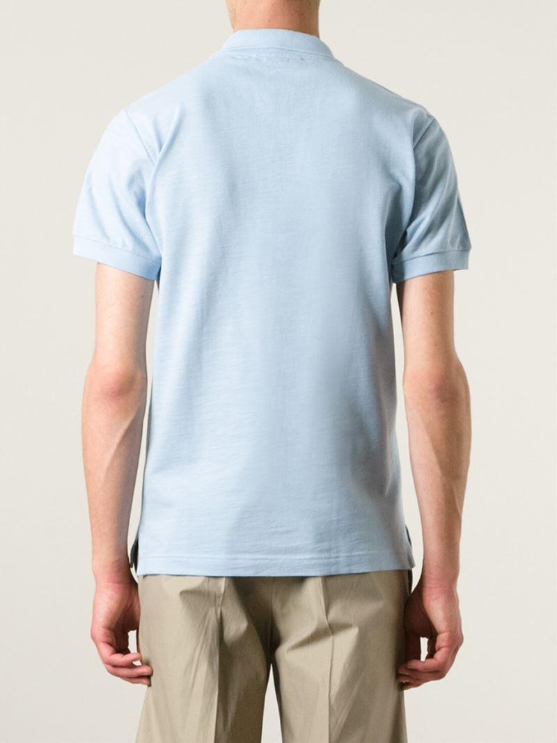 Dolce & Gabbana V-Neck Cotton Polo Shirt in Blue for Men