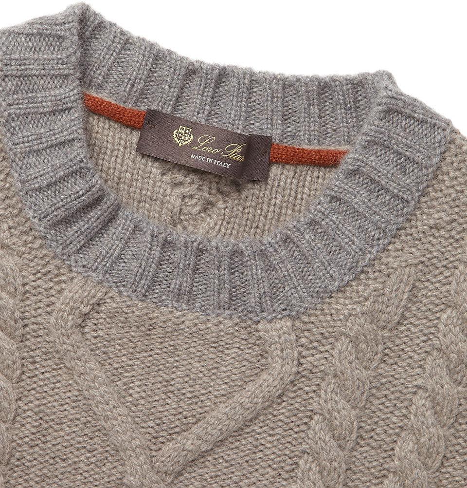 Loro Piana Coarsehair Cable-Knit Cashmere Sweater in Brown for Men