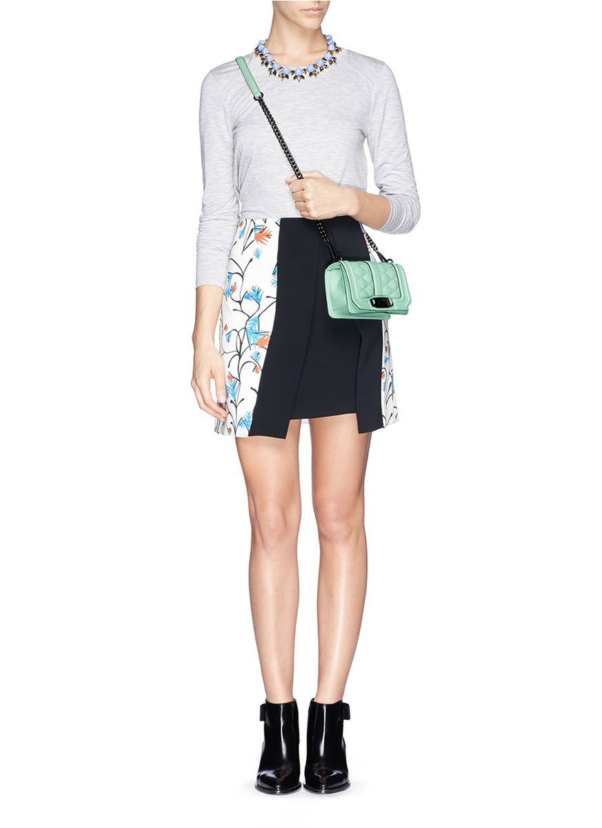 Lyst Rebecca Minkoff Love Mini Leather Crossbody In Green