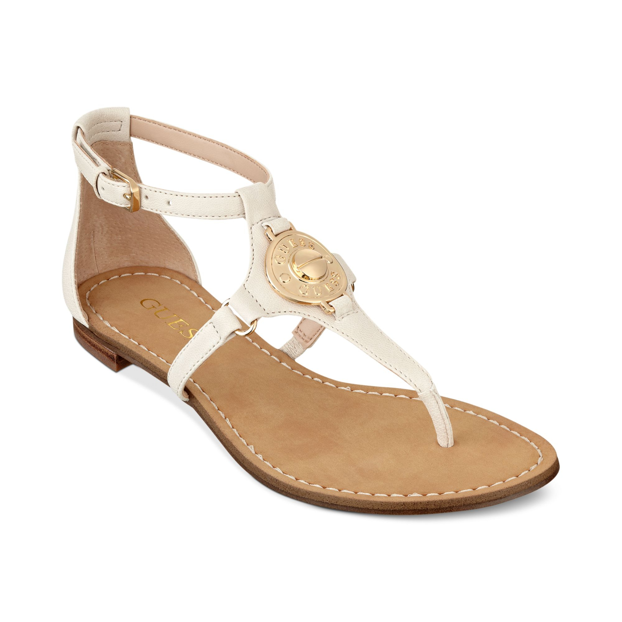 Ivory Flat Shoes With Strap
