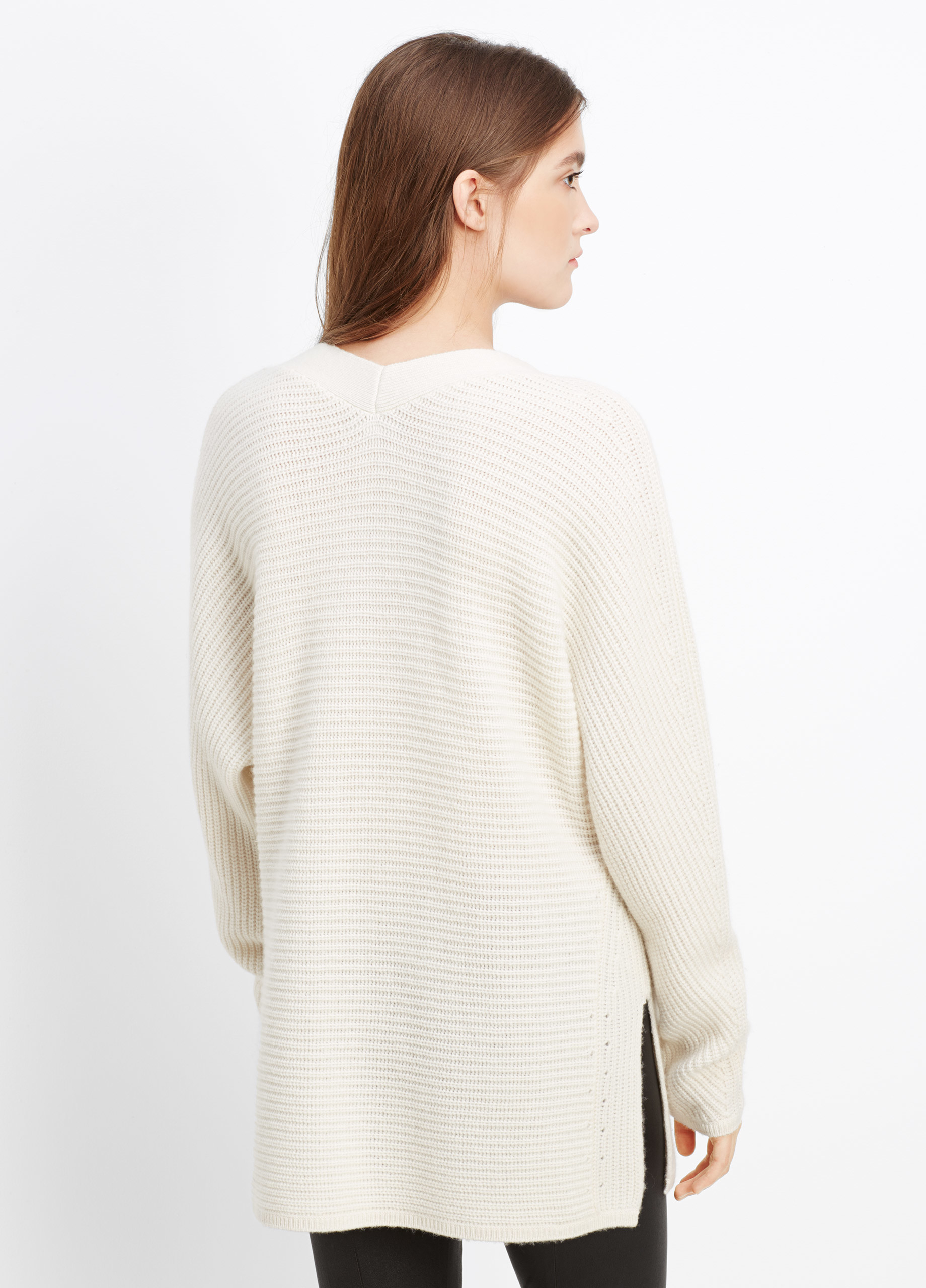 Vince Wool Cashmere Traveling Rib Double V-neck Sweater in White ...