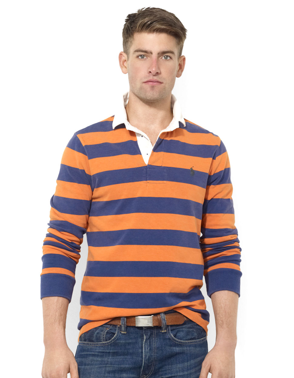 Polo ralph lauren customfit longsleeved striped jersey for Long sleeve striped rugby shirt