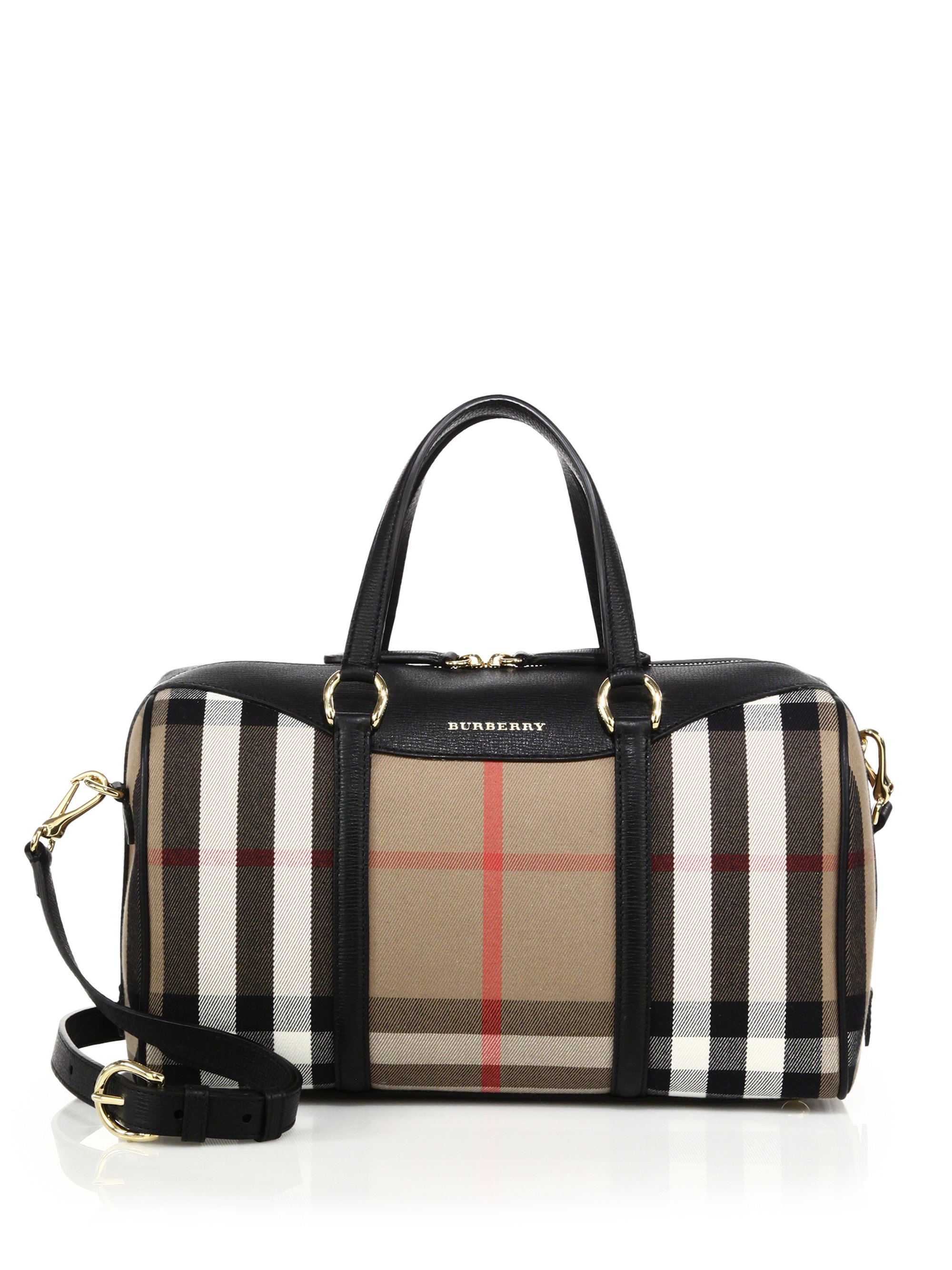 269ffcb0fc2 Burberry Alchester Medium House Check Cotton & Leather Bowler Bag in ...