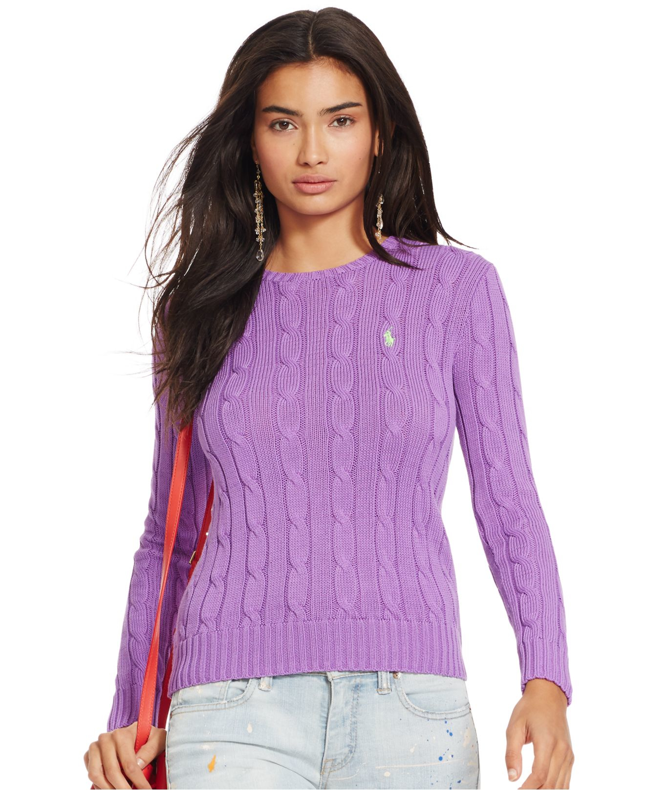 Polo ralph lauren Cable-knit Crewneck Sweater in Purple | Lyst