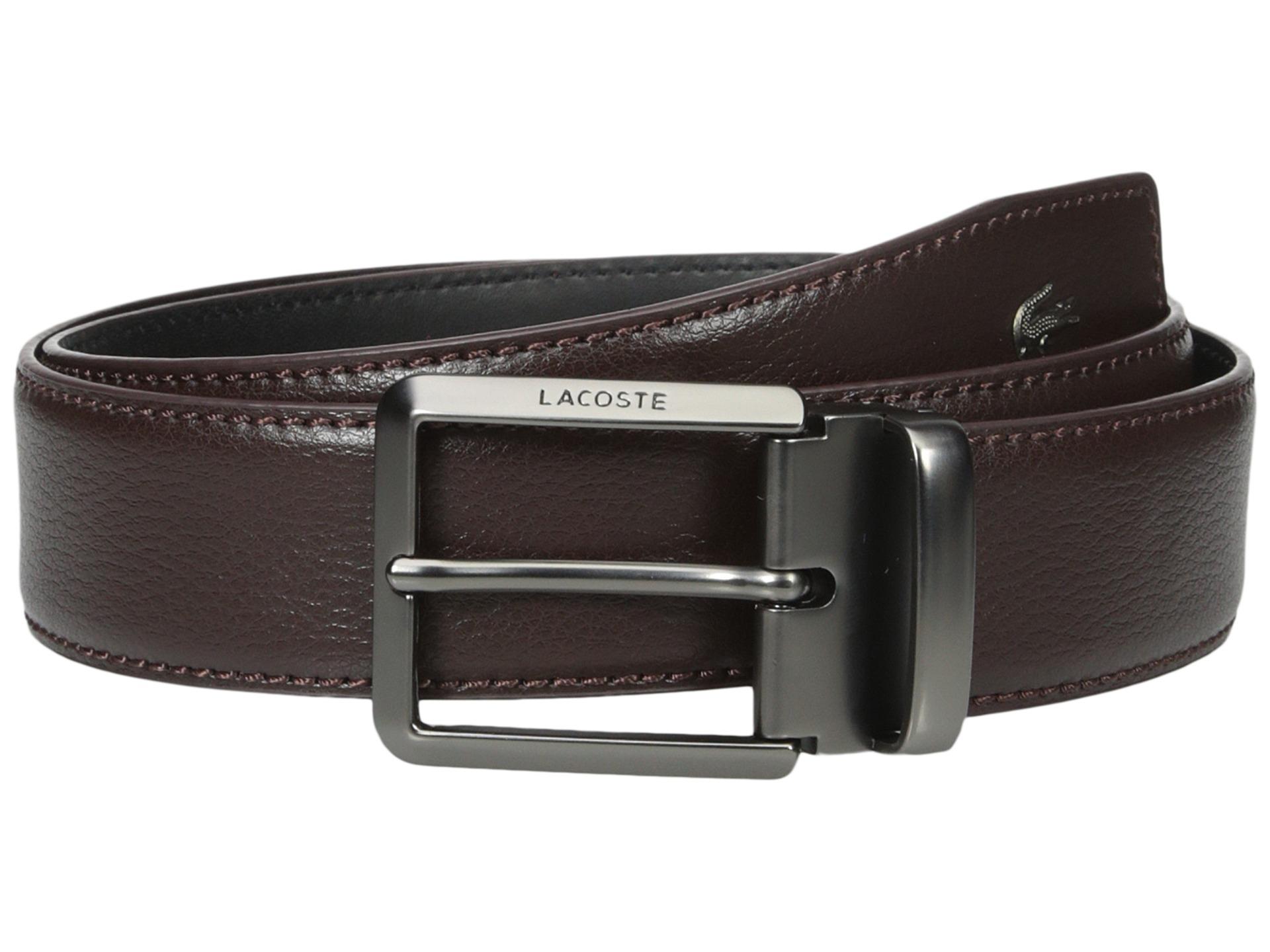 lacoste premium leather metal croc belt in black for