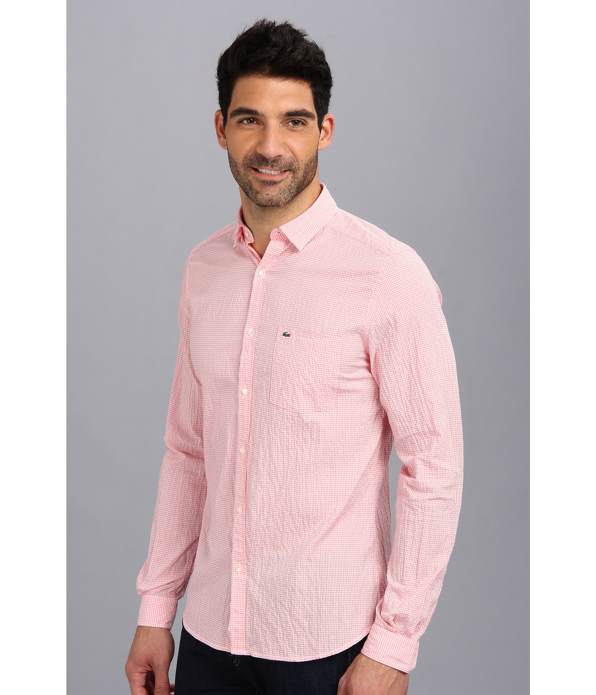 Lyst - Lacoste Long Sleeve Mini Gingham Seersucker Woven Shirt in ... 218e91023335