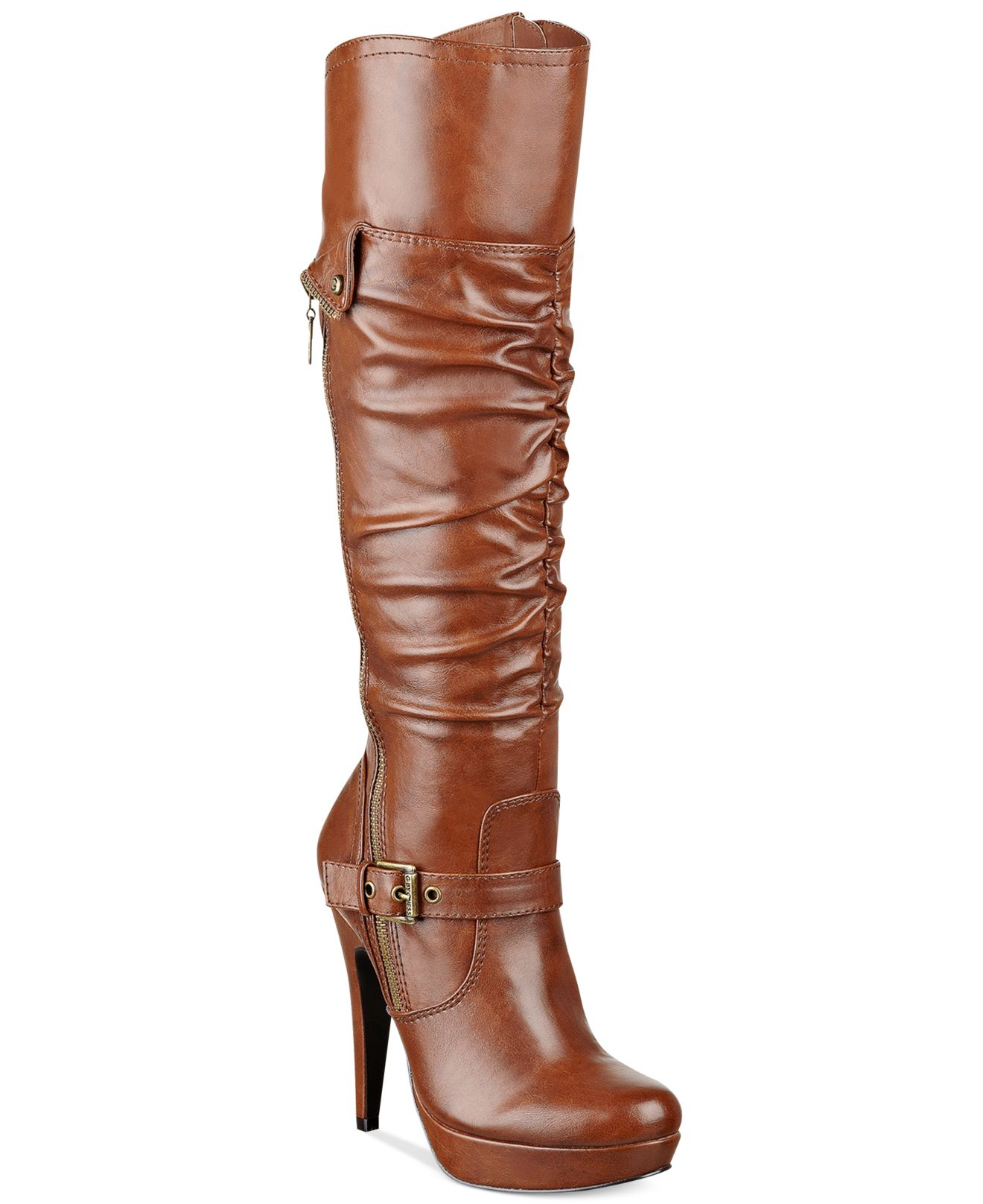 g by guess s drea platform dress boots in brown lyst