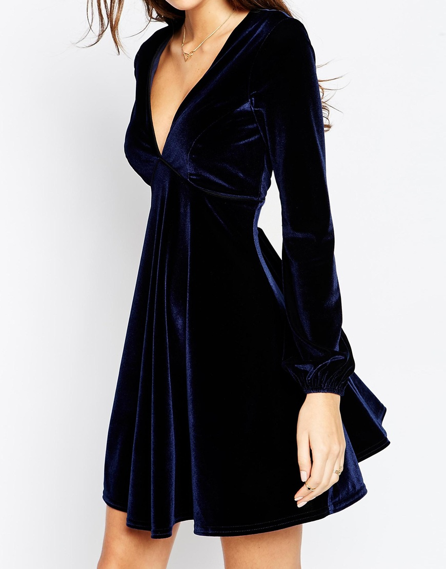 Lyst - ASOS Velvet Skater Dress With Bell Sleeve And Piping in Blue b364ef7dd
