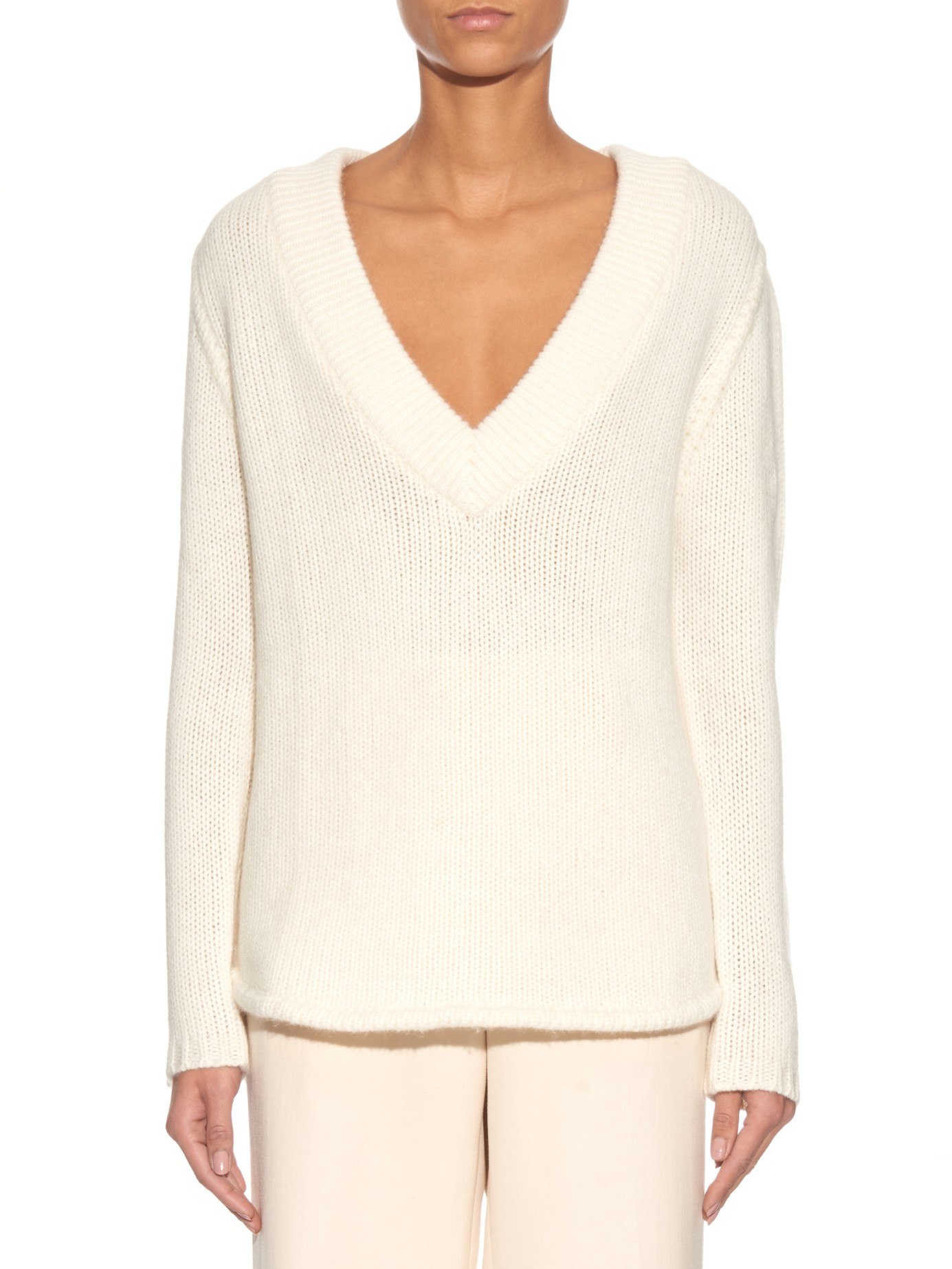 Denis colomb V-neck Cashmere Sweater in White | Lyst