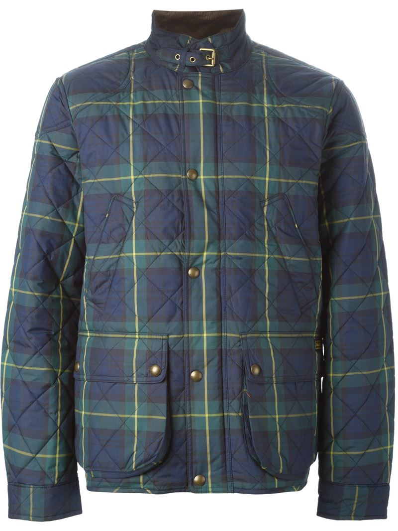 Polo Ralph Lauren Plaid Quilted Jacket In Blue For Men Lyst