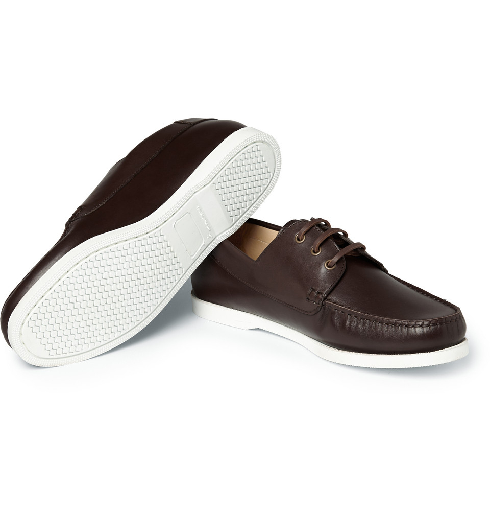 A.P.C. Rubber-Soled Leather Boat Shoes in Burgundy (Purple) for Men