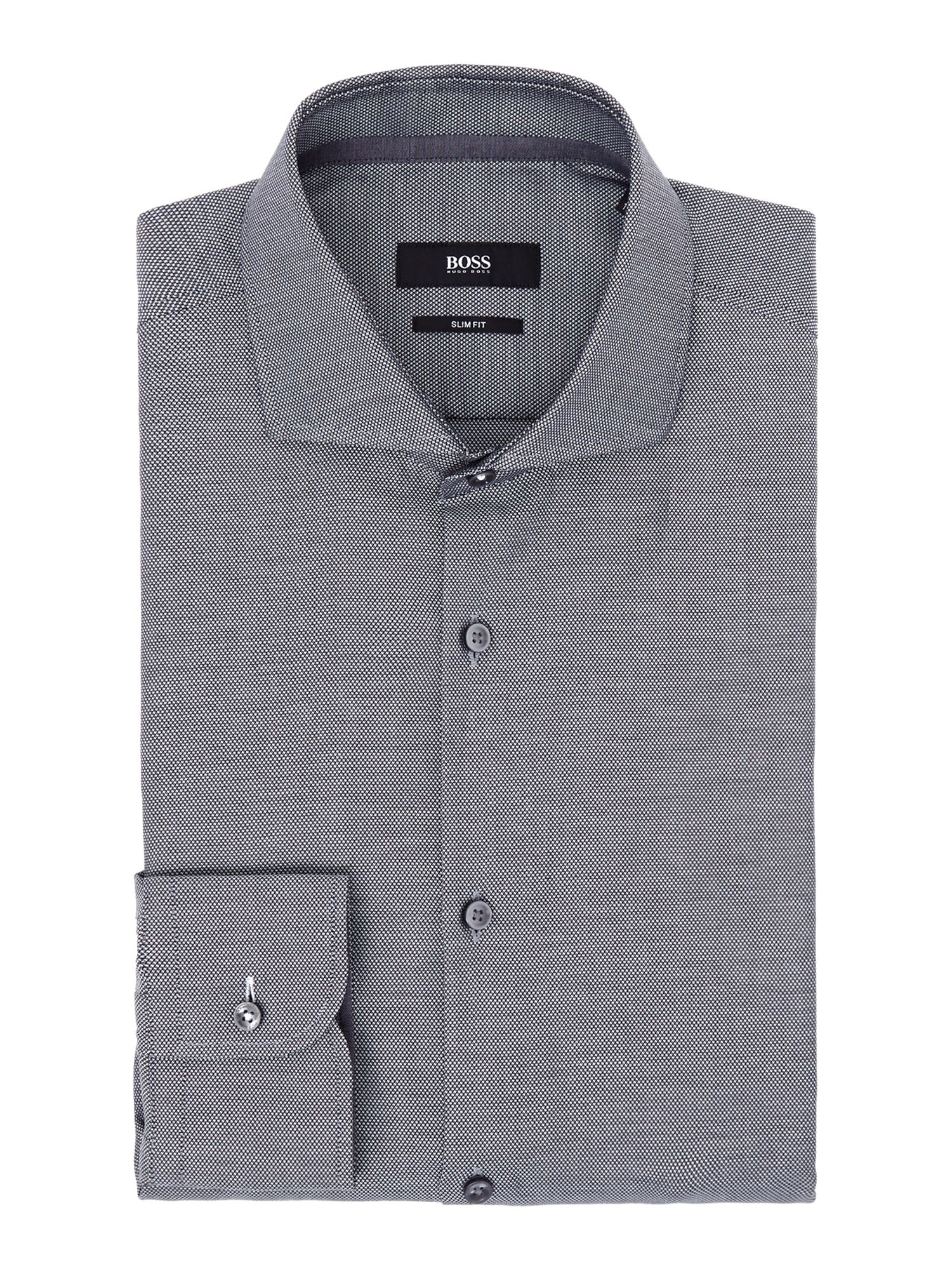 Boss Jery Slim Fit Textured Shirt In Gray For Men Lyst