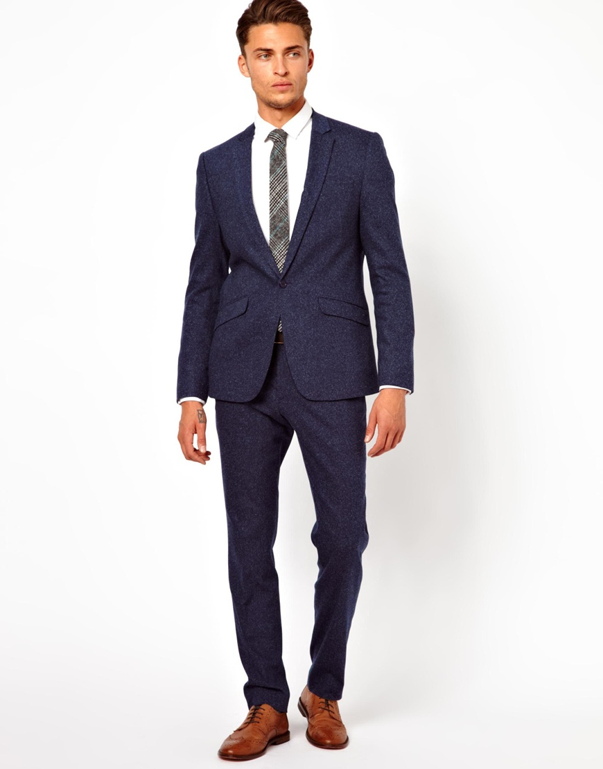 Asos Skinny Fit Suit Jacket In Fleck in Blue for Men | Lyst
