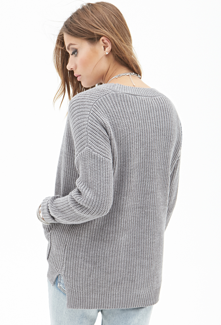 c2a77bd03e90 Lyst - Forever 21 Popcorn Knit Cardigan in Gray