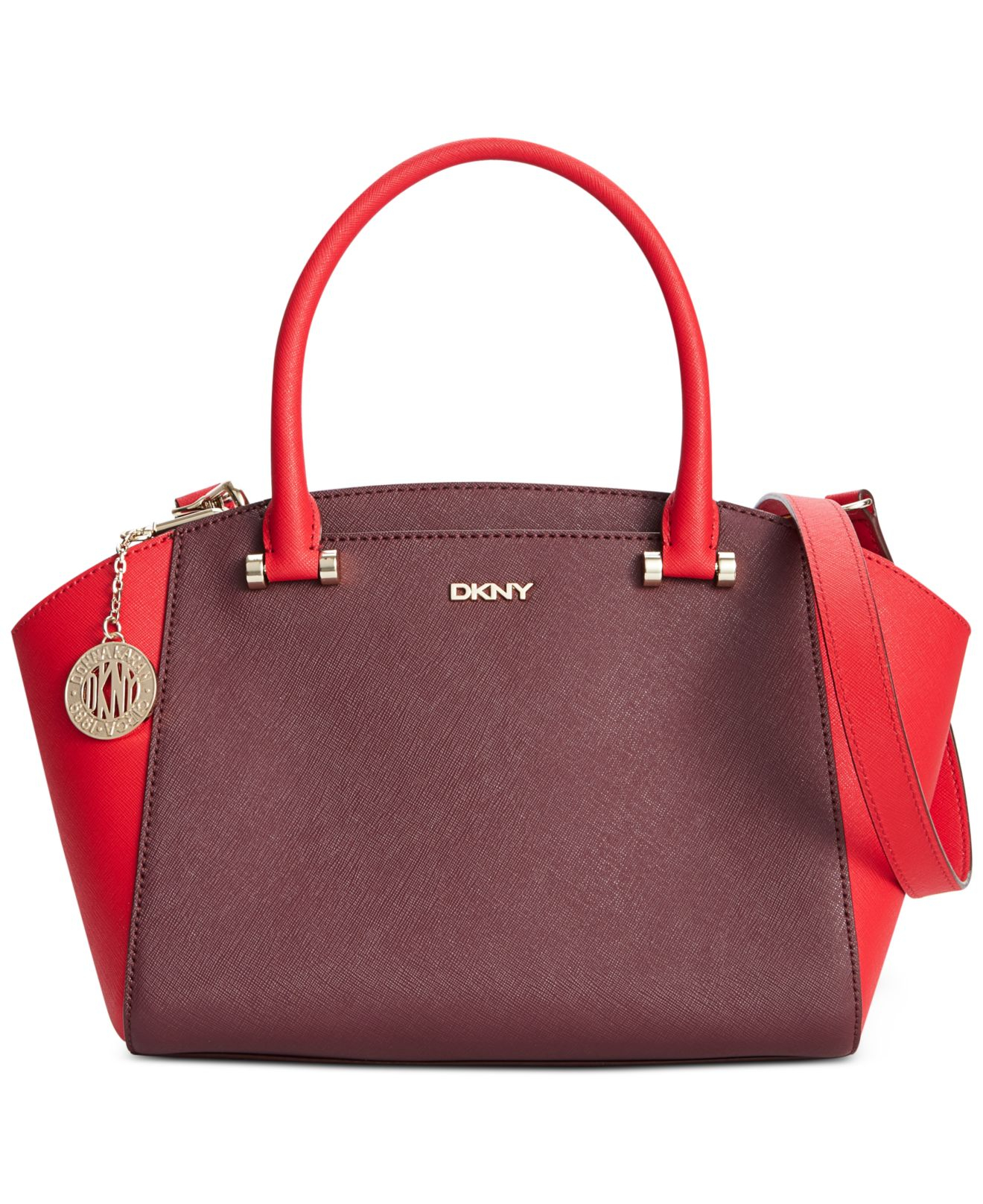 dkny bryant park saffiano small satchel in purple lyst. Black Bedroom Furniture Sets. Home Design Ideas