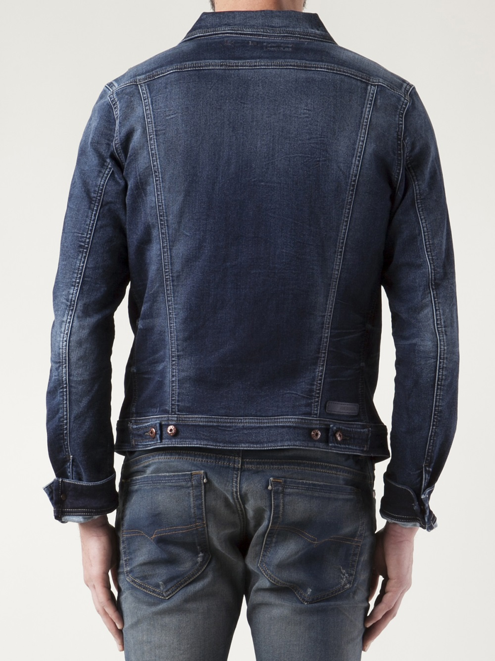 lyst diesel elshar jogg denim jacket in blue for men. Black Bedroom Furniture Sets. Home Design Ideas