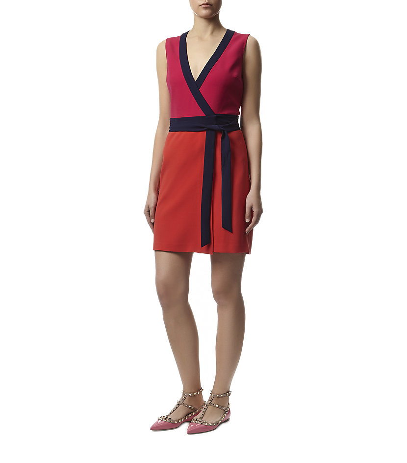 Diane von furstenberg gracie colorblocked wrap dress in for Diane von furstenberg clothes