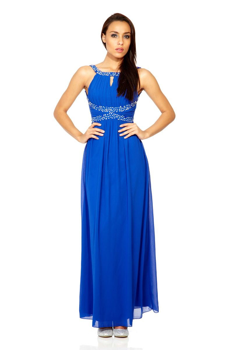 Quiz royal blue chiffon sequin embellished maxi dress