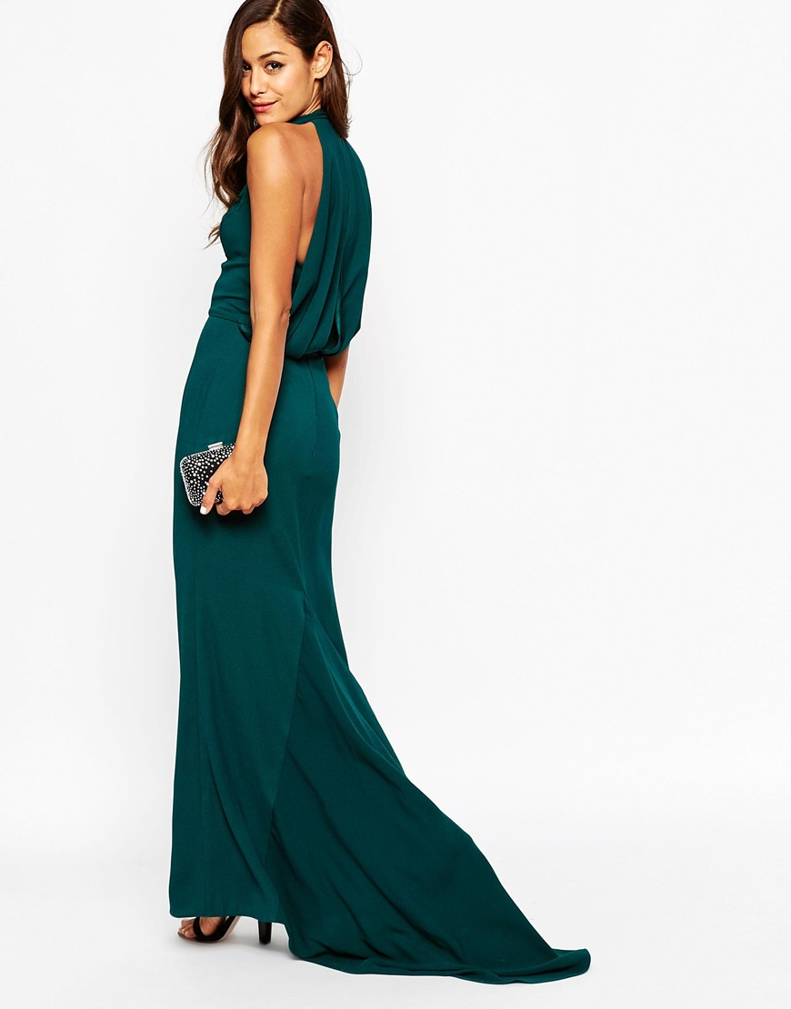 Lyst - Asos Deep Plunge Fishtail Maxi Dress With Drape Back in Green