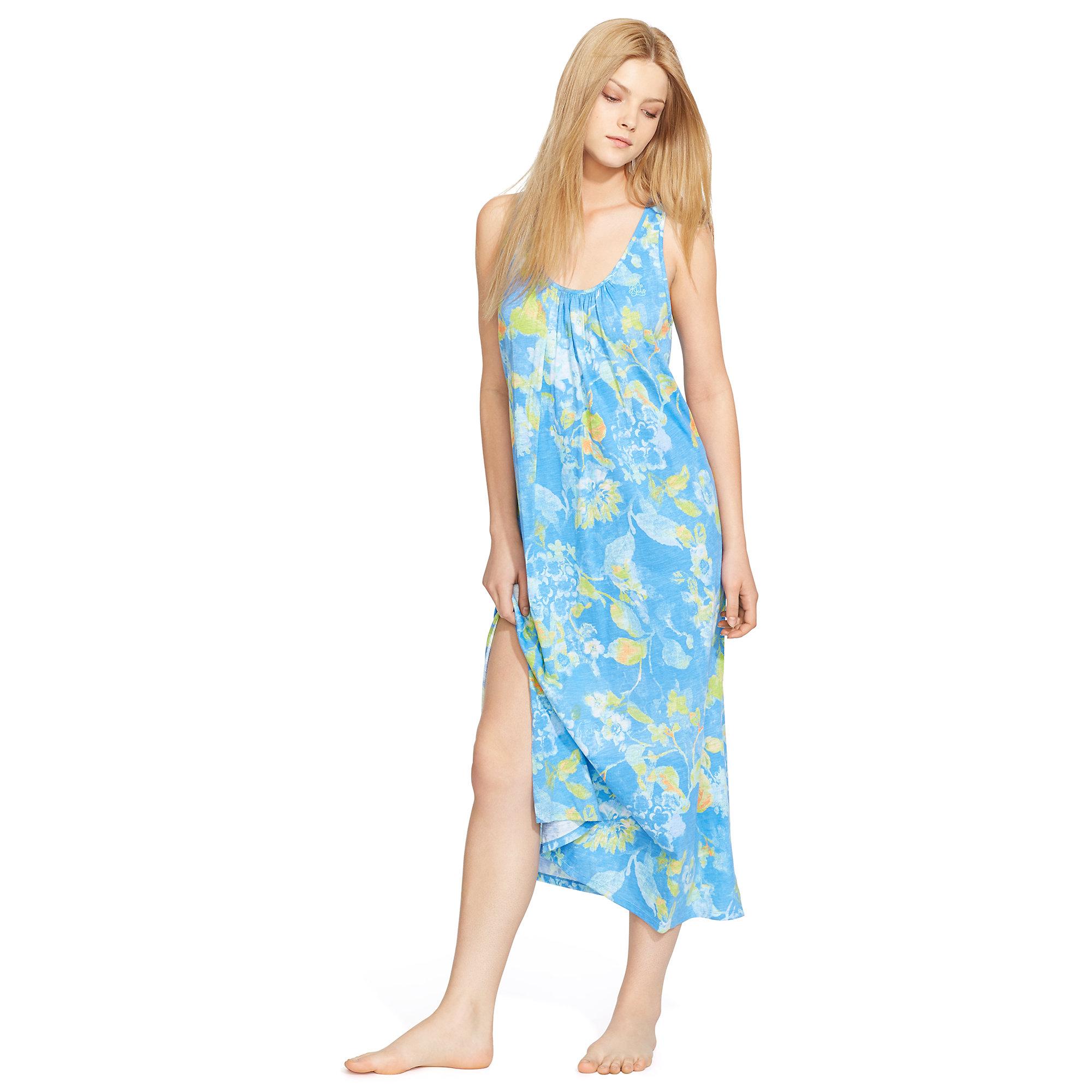 Sleeping Gown: Ralph Lauren Floral Cotton Long Sleep Gown In Blue