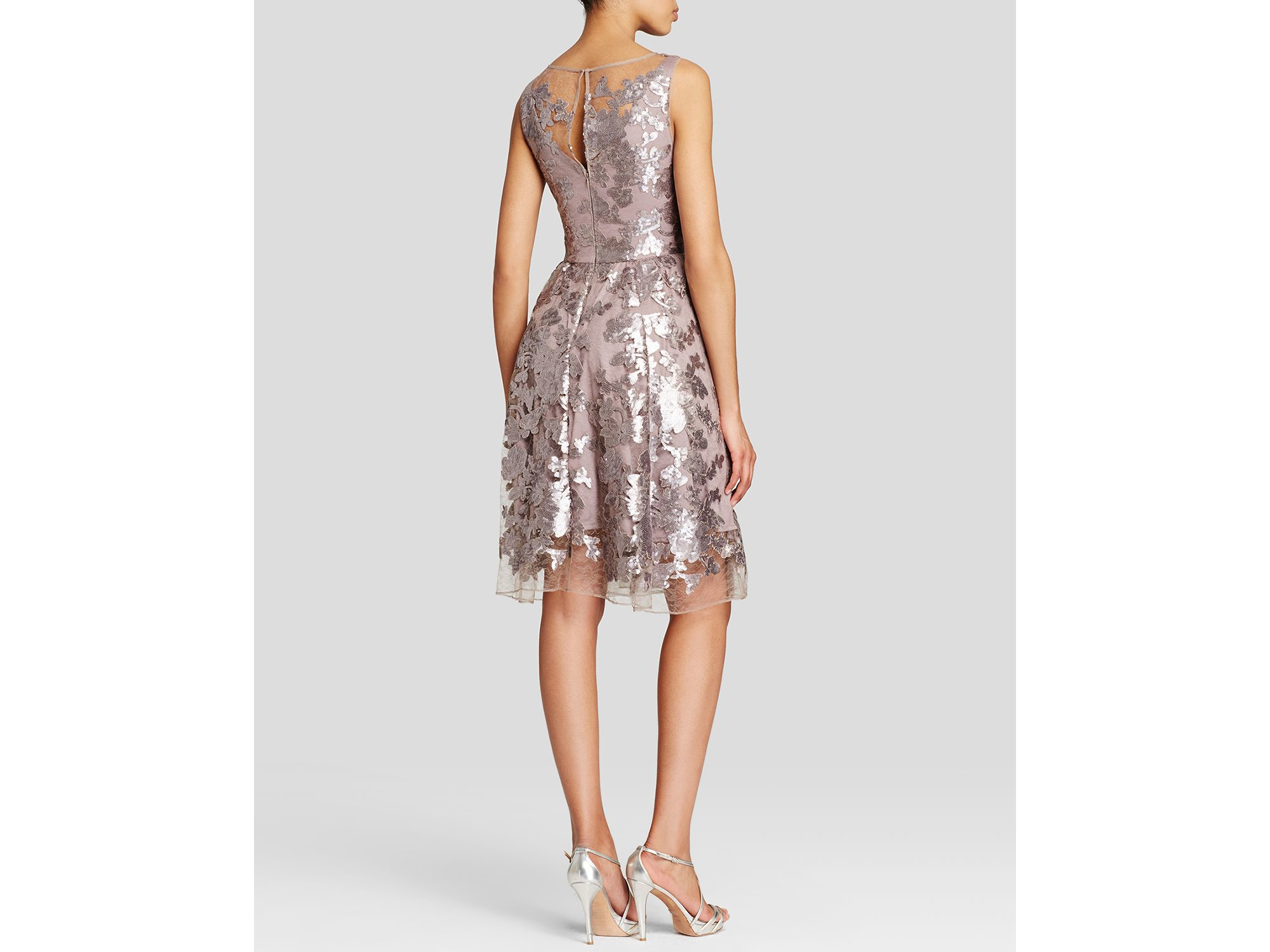 Vera Wang Dress Sequin Lace Fit And Flare In Silver