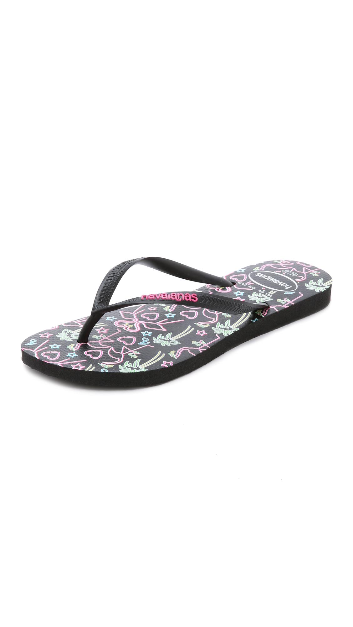 d1abf906bf755a Lyst - Havaianas Slim Flamingo Flip Flops - Black in Black